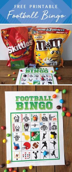 Make your game day viewing party even more entertaining by adding this Free Printable Football Bingo to the activity list! Perfect for fans of all ages, this themed printable uses SKITTLES® Original Fruit Bite Size Candies, M&M'S® Peanut Chocolate Candy, Football Birthday, Birthday Games, Birthday Parties, Football Party Games, Sports Birthday, Birthday Celebrations, Happy Birthday, Super Bowl, Spirit Game