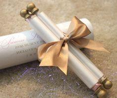 Princess Scroll Invitation by PapercutInvites on Etsy - Princess Scroll Invitation by PapercutInvites on Etsy - Wedding Cards, Wedding Themes, Our Wedding, Dream Wedding, Wedding Decorations, Ribbon Wedding, Scroll Invitation, Invitation Cards, Scroll Wedding Invitations