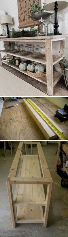 Check out how to build a DIY farmhouse style tv stand. Perfect for farmhouse or rustic style. Cute decor. love the wood look.