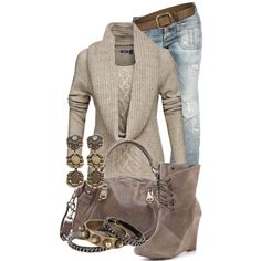 Sweater, wedges and jeans by jackie22 on Polyvore featuring Dsquared2, Betsey Johnson, Andrew Marc, DANNIJO, Isabel Marant, turquoise jewelry, stacked bracelets, wedge boots, lace up boots and satchel