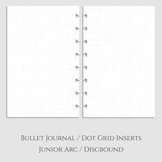 ★ These are Half Letter Size PRINTED dotted planner page inserts. ★ These are printed front and back on high quality paper (32-lb) to reduce/eliminate pen bleed through and ghosting. ★ Inserts come printed + punched for your Discbound/Arc notebook. ★ You are purchasing a PHYSICAL planner product.  ★ If you are interested in graph paper refills, check out this listing: https://www.etsy.com/listing/262367961/half-size-discboundarc-junior-bullet  =============================== PLEASE NOTE: ★…