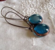 Turquoise Glass Jewel Earrings Vintage Inspired