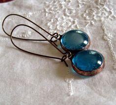 Turquoise Glass Jewel Earrings Vintage Inspired