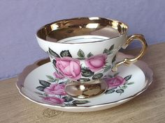 Antique Pink Rose tea cup and saucer Rosina gold by ShoponSherman