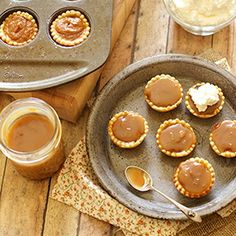 Three desserts in one of chocolate, pumpkin and bourbon caramel packed into a mini pie.