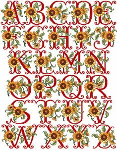 "I'll have a ""Welcome"" frame for my house in this pattern eventually! eSunflowers Alphabet in Cross Stitch"