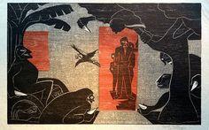 """""""Los Asesinos"""". Francisco Amighetti, Cromoxilografía, 47 x 65 cm, 98/30. 1982."""
