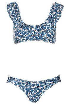 Blue Floral Frill Crop Bikini//Dunno if I could pull this style off, but dang, it's cute!