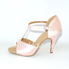 Satin Heels Latin Ballroom Dance Shoes With Rhinestone T-Strap (053012958) $29