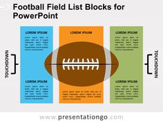 Free football field list blocks for PowerPoint. American football field with 3 rectangles, and a big football in the middle. Free Football, Football Field, Free Courses, Online Courses, Audiophile Headphones, Premium Wordpress Themes, Presentation, Graphics, Templates