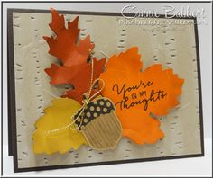 For the Cards for Friends challenge on SUO Challenges.  Leaflet Framelits, Acorn Punch, Watercolor Wishes stamp set, Woodland Embossing folder, fall, acorns, Stampin' Up!, #stampinup, created by Connie Babbert, www.inkspiredtreasures.com