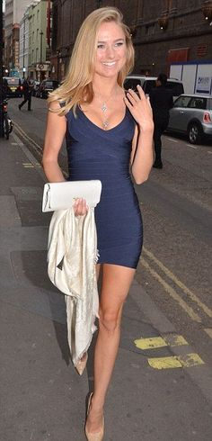 Tight sexy blue Herve Leger bandage dress