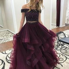 Princess Prom Dresses, Two Piece Off-the-Shoulder Tiered Maroon Tulle Prom Dress with Beading, Plus Size Formal Dresses and Plus Size Party Dresses are great for your next special Occassion at cheap affordable prices The Dress Outlet. Cute Prom Dresses, Tulle Prom Dress, Pretty Dresses, Homecoming Dresses, Beautiful Dresses, Formal Dresses, Party Dress, Long Dresses, Maxi Dresses