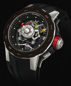 """Richard Mille RM 36-01 G-Sensor Sebastien Loeb Limited Edition Watch - #ablogtowatchSIHH2014 """"At last year's SIHH Richard Mille presented the world the RM 036, a 15-pieces limited edition of what was their first wristwatch equipped with a G-force sensor. With the RM 36-01, a new piece for the 2014 SIHH, the brand reiterates the G-sensor technology with some modifications in both its construction and its presentation specially made for their rally car driving brand ambassador..."""""""