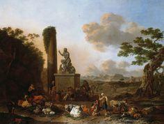 Итальянский пейзаж. 71х100 cm. Nicolaes Berchem (1620-1683)