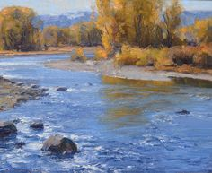 """""""Boulder River""""Oil 10"""" x 12"""" © Clyde Aspevig 2014 ©Clyde Aspevig owns the copyright to his paintings worldwide and may not be used or reproduced electronically or in print media without the artist's express written consent. All paintings on this web site are under strict copyright."""