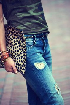 camo shirt, leopard, jeans, ripped jeans, distressed jeans, studded belt