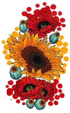 Sunflower Poppy Print (Colorful Red and Yellow Illustration Ink Splash Copic Marker Drawing on Wind Power Bristol Watercolor Tattoo Design)