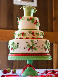 Strawberries!  One of my daughter's wedding cake layers was strawberry shortcake.  That would be awesome in this cake!