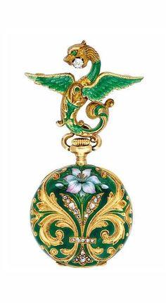 An Art Nouveau Enamel and Gold Lapel Watch, circa 1900.
