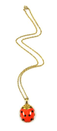 Trifari Lucite Lady Bug Pendant Necklace 1970s $135