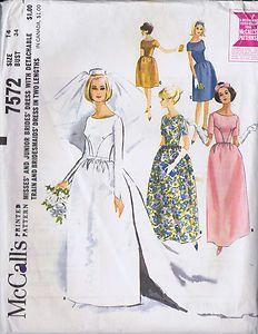 "Vintage Wedding Dress 60s Sewing Pattern McCall 7572 Size 14 Bust 34 Hip 36"" Cut | eBay"