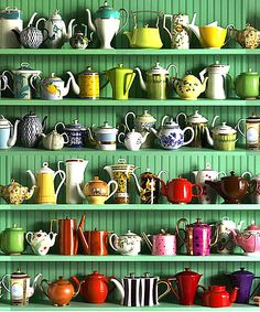 Amazing Collections Display Adding Colors to Your Home: Teapot Collection ~ anahitafurniture.com Interior Design Inspiration