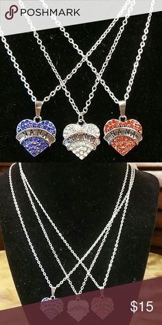 """‼️CLEARANCE‼️NANA Necklace Crystal Heart Nana Necklace. 20.5 """" long chain. Red, Blue, or Clear Boutique  Jewelry Necklaces"""
