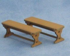 This is a kit for two benches, suitable for a 1/48th scale miniature dolls house. Can be used with the farmhouse table.The kit is made from laser cut painted card.Kit can be left as it is, in the brown colour, or repainted in your prefered colour.Benches measure 33mm long x 8mm wide x 11mm high.I just need to finish a few items and then I'll be adding some painting tips to my blog along with some pictures of painted furniture.