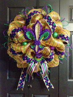 Mardi Gras Wreath by WreathsbyLaura on Etsy, $90.00