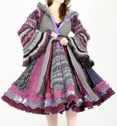 Enlightened Platypus Dream Coat - RESERVED for Silverweb - Elf Pixie Couture - Patchwork Recycled sweaters - One of a kind Dress OOAK #fashion #etsy #purple #pink #crochet #knit #patchwork