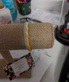 Yellow and blue zipper pattern friendship bracelet by JolieTreasure on Etsy