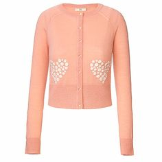 Orla Kiely | UK | Clothing | Resort | Garden of Hearts Cardigan (14RKGOH211) | Rose