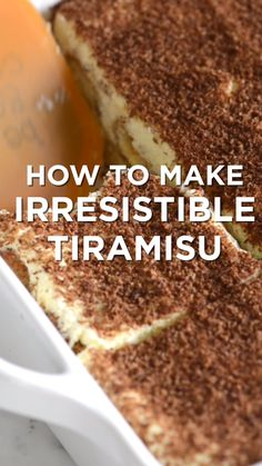 Tiramisu is one of our absolute favorite desserts. It is even simple to make you just need a little time. Tiramisu is one of our absolute favorite desserts. It is even simple to make you just need a little time. Irresistible Tiramisu Recipe with Tips - In Sweet Desserts, Easy Desserts, Sweet Recipes, Delicious Desserts, Yummy Food, Tasty, Easy Italian Desserts, Simple Dessert Recipes, Authentic Italian Desserts
