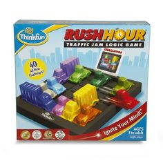 ThinkFun Rush Hour (019275050009) Four levels of play, beginner to expert Forty mind challenge cards with solutions Sixteen cars and trucks, one red escape car One traffic grid game board and game-go storage bag For ages 8 years and above