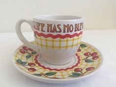 MARY ENGELBREIT TEA CUP AND SAUCER SET LIFE HAS NO BLESSING LIKE A GOOD FRIEND