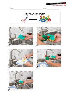 PLANCHE GRATUITE: Les tâches de la vie quotidienne en séquences.  Ici, laver la vaisselle