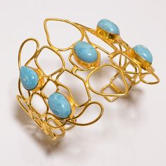 18 Cts. VERMEIL GOLD PLATED FANTASTIC LARIMAR HANDMADE  BANGLE CUFF JEWELRY R775 #Handmade