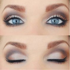 Make Blue Eyes Pop Wedding - {Makeup for Bride} Love brown and gold for blue eyes. I would wear a soft pink lipstick.Wedding - {Makeup for Bride} Love brown and gold for blue eyes. I would wear a soft pink lipstick. Makeup Black, Blue Eye Makeup, Eye Makeup Tips, Smokey Eye Makeup, Eyeshadow Makeup, Makeup Ideas, Hair Makeup, Makeup Kit, Beauty Makeup