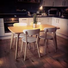 Fjord Compact Dining Table, Oak and White | made.com