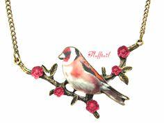 Ketten lang - Halskette Blumenfink Roter Vogel Fink Vogelkette - ein Designerstück von Flufftail bei DaWanda