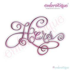 Hers Calligraphy Script - 12 Sizes!   Mini Designs   Machine Embroidery Designs   SWAKembroidery.com Embroitique