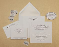 Sometimes you just need a little flourish in your life. Although this invitation is undoubtedly modern with it's square shape and platinum foil accents, there is also something undeniably vintage about it that gives it timeless appeal. An oval-shaped reception card is the quintessential unexpected detail that provides just the right amount of whimsy, while a platinum envelope liner grounds the design in polished formality.