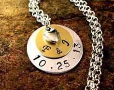 Wedding Necklace Wedding Date Necklace by CharmAccents on Etsy,