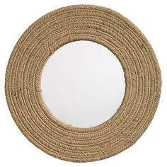 "Handmade jute wall mirror.        great texture addition to the room, entry or hall.  I love being able to add ""organic"" feeling to a room with things like this.  Nature inside not just outside."
