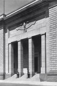A view of a guarded entrance to the new Reich Chancellery in Berlin, designed by Albert Speer (1941)