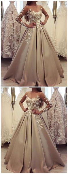 generous long sleeve ball gown champagne prom dresses, luxury lace wedding dress for bridal