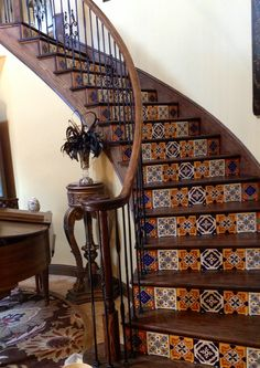 Mexican tile on stairs