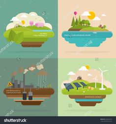 Ecology Concept Vector Icons Set for Environment, Green Energy and Nature Pollution Designs. Renewable Energy, Natural Farm Products, Fresh Air and Drinking Water. Advantages Of Solar Energy, Renewable Sources Of Energy, Flat Design Illustration, Landscape Illustration, Diy Solar, Energy Technology, Nature Images, Alternative Energy, Drinking Water