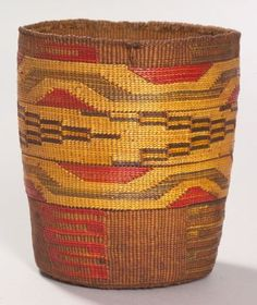 Northwest Coast Polychrome Twined Basketry Bowl | Tlingit, c. 1900